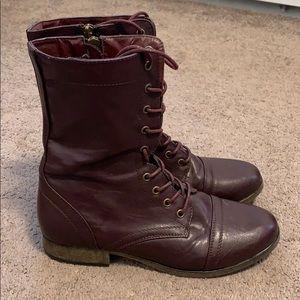 Burgundy combat boots
